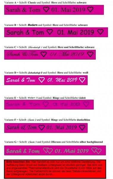 Schrift-und-Farbauswahl individuell bedrucktes Satinband pink