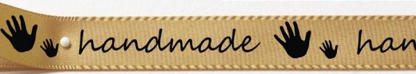 Satinband handmade- gold: 15mm breit / 25m-Rolle