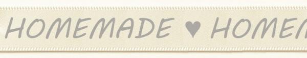 Satinband HOMEMADE- creme-grau: 15mm breit / 25m-Rolle