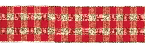 Karoband, rot-gold: 38mm breit / 25m-Rolle, mit Drahtkante