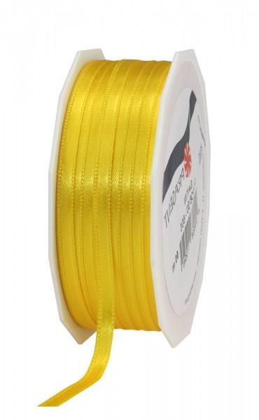 Satinband-PRÄSENT: 6mm breit / 50m-Rolle, gelb.