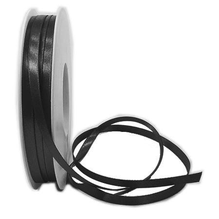 Satinband-SINFINITY, schwarz: 6mm breit / 50m-Rolle, mit feiner Webkante.