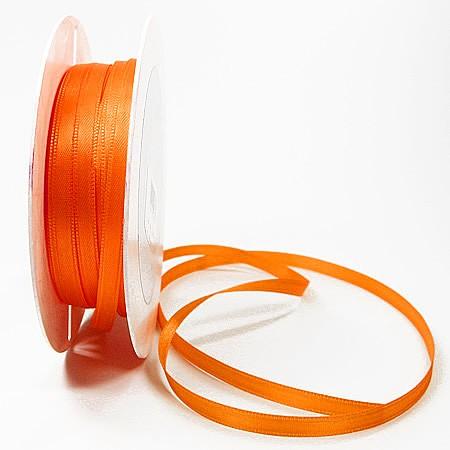 Satinband SINFINITY, orange: 6mm breit / 50m-Rolle, mit feiner Webkante.