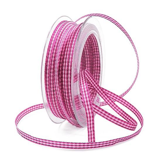 Landhaus-Karoband, pink-weiss: 6mm breit / 25m-Rolle
