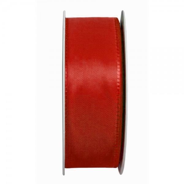 Taftband, rot: 40mm breit / 50m-Rolle, mit feiner Webkante.