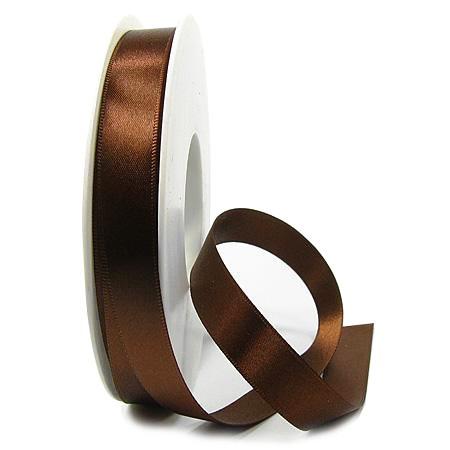 Satinband-SINFINITY, kaffeebraun: 15mm breit / 25m-Rolle, mit feiner Webkante
