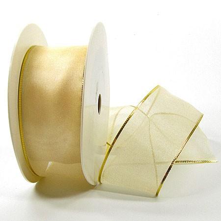 Organzaband-Magic: Creme-Gold, 25m-Rolle - 40mm breit
