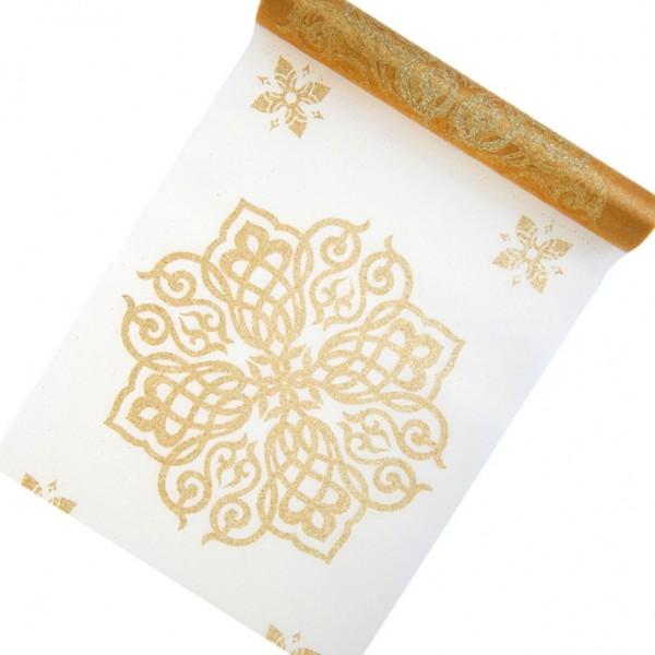 Organza-Tischband ORIENT, gold: 280mm breit / 5m-Rolle.