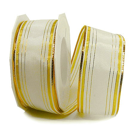 Dekorband-Chamonix: 40mm breit / 20m-Rolle, creme-gold
