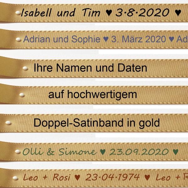 Ihre Namen und Daten auf goldenem Satinband