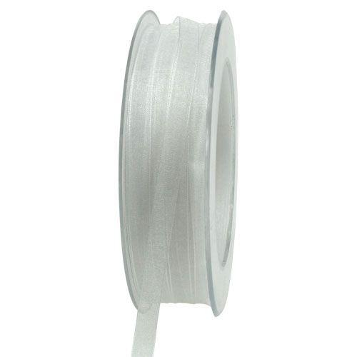 Organzaband: 6mm breit / 50m-Rolle, weiß