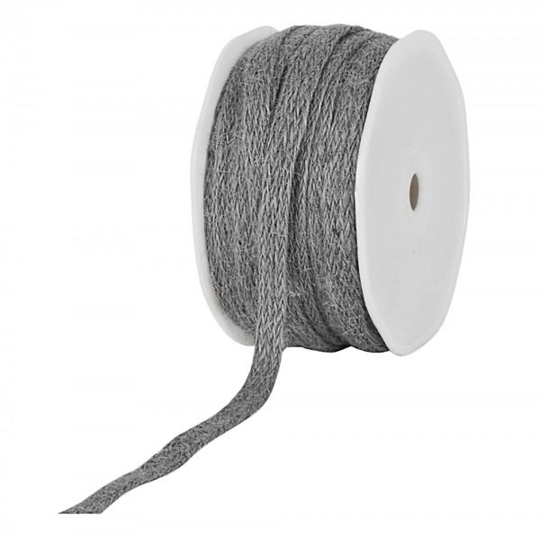 Jute-Flechtband, grau: 12mm breit / 20m-Rolle