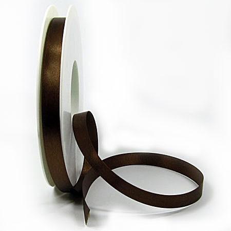 Satinband SINFINITY, dunkelbraun: 10mm breit / 25m-Rolle, mit feiner Webkante.