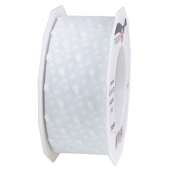 Tüllband-ORIENT, weiß mit weißen Tupfen, 40mm breit, 25m-Rolle