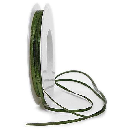 Satinband SINFINITY, moosgrün: 3mm breit / 50m-Rolle, mit feiner Webkante.