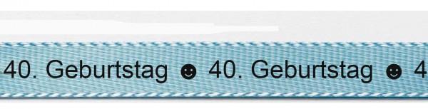 Ihr Text auf Satinband hellblau-schwarz mit Classic-Schrift: 15mm breit / 25m-Rolle