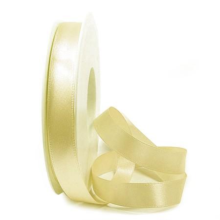 Satinband SINFINITY, vanille-creme: 15mm breit / 25m-Rolle, mit feiner Webkante.