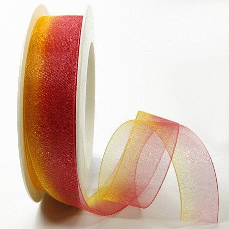 RAINBOW-Organzaband: 25mm breit / 25m-Rolle, rot-orange.