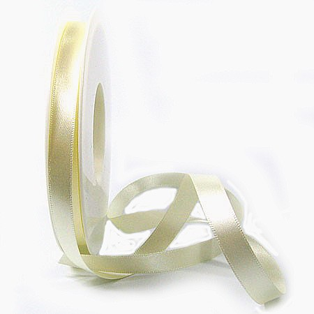 Satinband SINFINITY, creme: 10mm breit / 25m-Rolle, mit feiner Webkante.