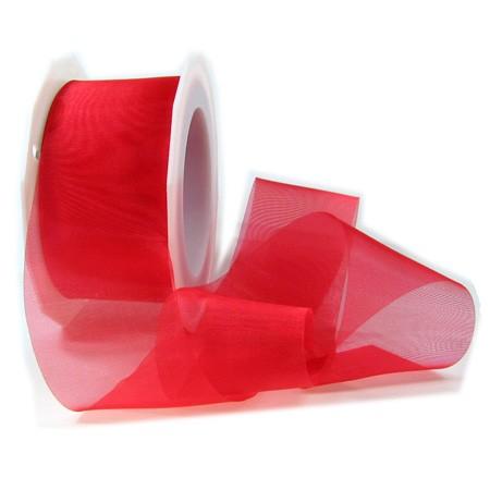 Organzaband-Sheer: 40mm breit / 25m-Rolle, rot.