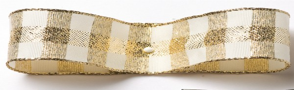 Karoband: 15mm breit / 25m-Rolle, creme-gold