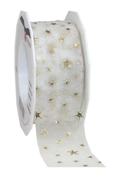 Weihnachtsband-CANADA, creme: 25mm breit / 20m-Rolle