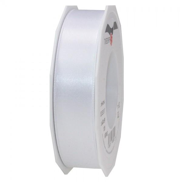 Satinband-PRÄSENT, weiß: 25mm breit / 25m-Rolle, mit feiner Webkante.