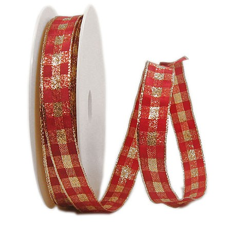 Karoband: 15mm breit / 25m-Rolle, rot-gold