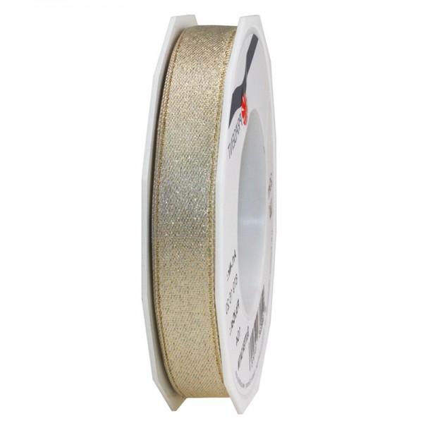 GLITTER-Satinband: 15mm breit / 20m-Rolle, creme mit Gold-Glitzer