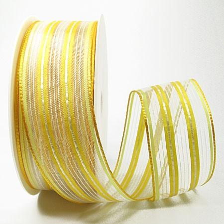 Dekoband-BRILLIANCE, gelb: 38mm breit / 20m-Rolle, mit Drahtkante.