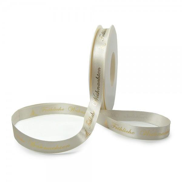 Weihnachtsband-Satin-15mm breit/25m Rolle, creme gold-hochglanz