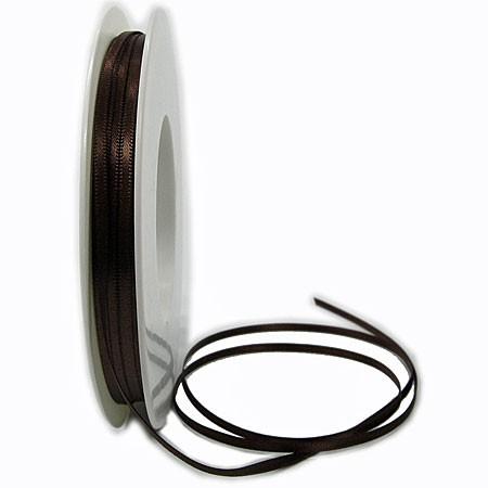 Satinband SINFINITY, dunkelbraun: 3mm breit / 50m-Rolle, mit feiner Webkante.