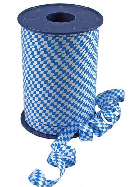 """Poly-Ringelband BAVARIA: 10mm breit / 250m-Rolle, blau-weiß """"bayerische Raute""""."""