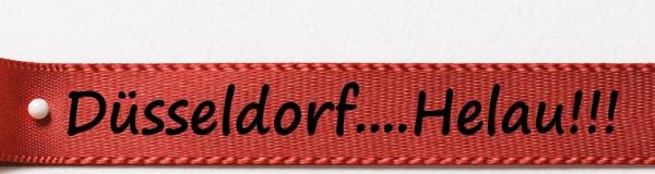 Karnevals-Satinband Düsseldorf...Helau: 15mm breit / 25m-Rolle: rot mit schwarzer Schrift