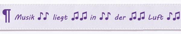 """Satin-Spruchband """"Musik liegt in der Luft"""", weiss-violett: 15mm breit / 25m-Rolle"""