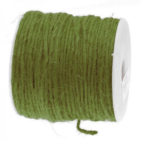 Jutekordel, moosgrün: 2mm breit / 100m-Rolle.