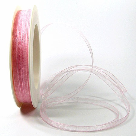 Organzaband: 5mm breit / 50m-Rolle, rosa: 12506005