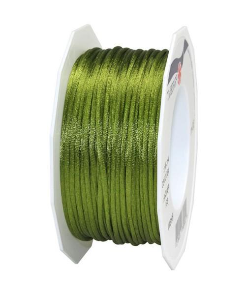 Satinkordel-RHEIN, moosgrün: 3 mm breit - 50-Meter-Rolle