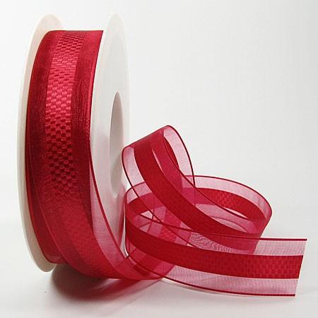 """Chiffonband """"Emotion"""", rot: 25mm breit / 25mn-Rolle, mit feiner Webkante"""