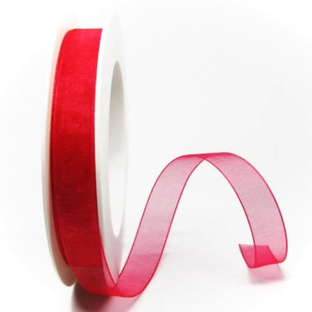 Organzaband, rot: 15mm breit / 25m-Rolle: 1250015042