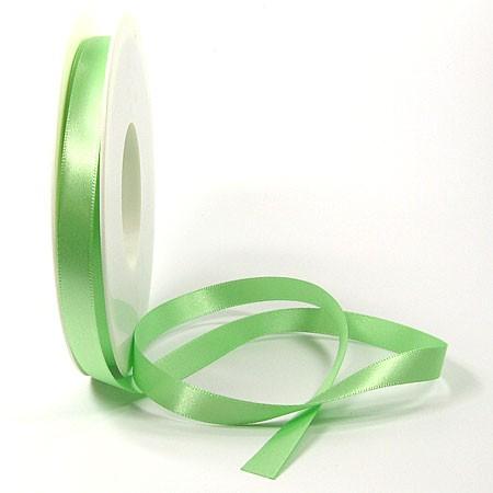 Satinband SINFINITY, hellgün: 10mm breit / 25m-Rolle, mit feiner Webkante.