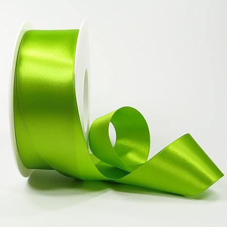 Satinband-SINFINITY, lindgrün: 38mm breit / 25m-Rolle, mit feiner Webkante