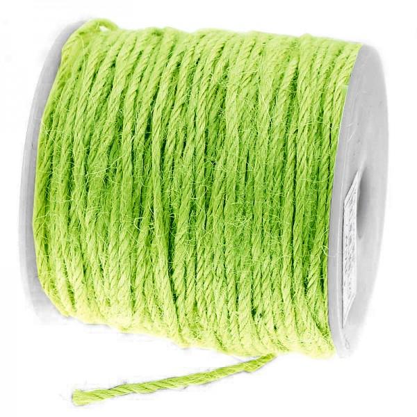 Jutekordel, lindgrün: 2mm breit / 100m-Rolle.