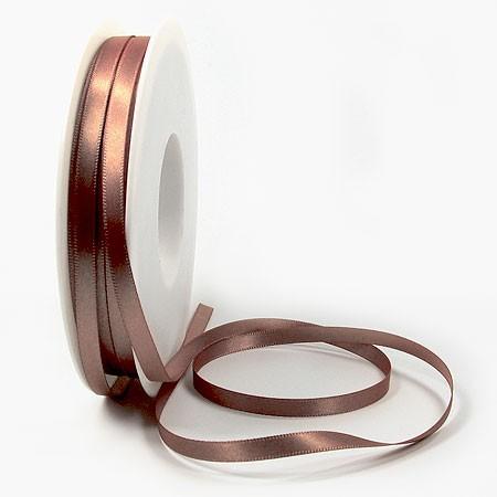 Satinband SINFINITY, bronze: 6mm breit / 50m-Rolle, mit feiner Webkante.