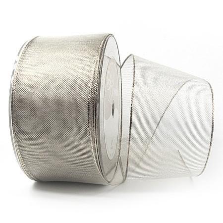 Silberband-TIMPEL, silber: 60mm breit / 25m-Rolle, mit Drahtkante