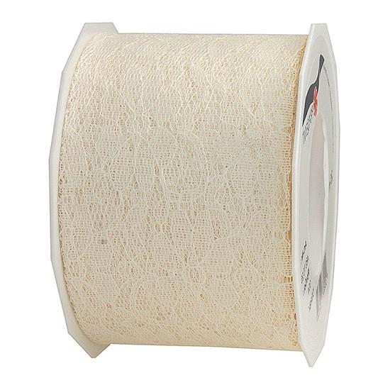 Spitzenband: 72mm breit / 25m-Rolle, creme