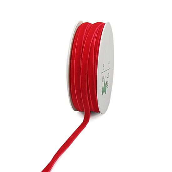 Samtband: 5mm breit / 50m-Rolle, rot
