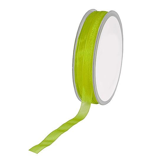 Organzaband: 10mm breit / 50m-Rolle, lindgrün