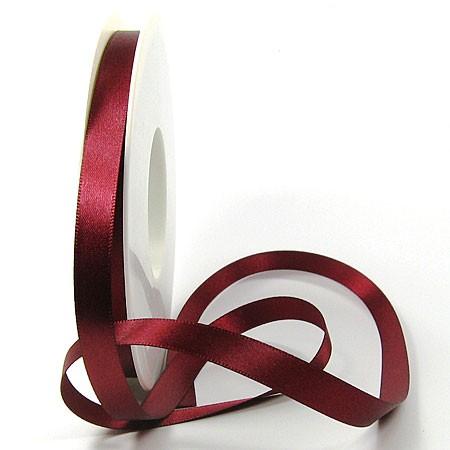Satinband-SINFINITY, weinrot: 10mm breit / 25m-Rolle, mit feiner Webkante