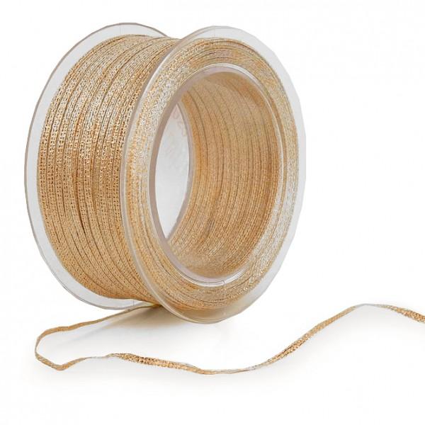 BROKAT-Band: 3mm breit / 100m-Rolle, gold